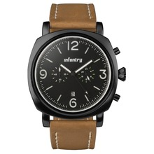INFANTRY Military Black Men's Chronograph Leather Vintage Quartz Watch