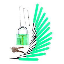 Professional 18pcs Practice Lock Pick Set 12 picking tools 1 <strong>key</strong> extractor 2 strong tension wrenches 1Transparent lock 2 <strong>keys</strong>