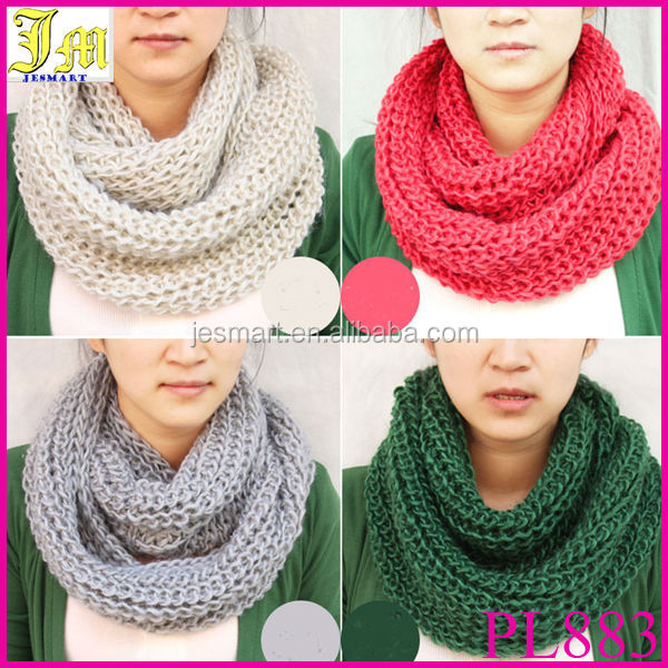 New Fashion Korean Style Autumn Winter Cheap Infinity Scarf Women Warm Knit Neck Circle Wool Blend Cowl Snood Ring Scarves Long