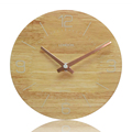 Chinese Wholesale Round Wood Metal Stand Clock Art Wooden Wall Clock wooden wall clock