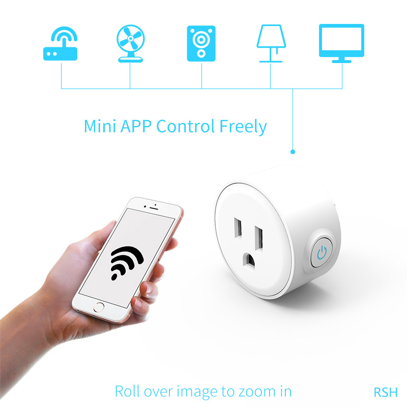 US Mini Smart Plug Wi-Fi Socket App Remote Control Works with Amazon Alexa and Google Assistant US/EU Timer Plug