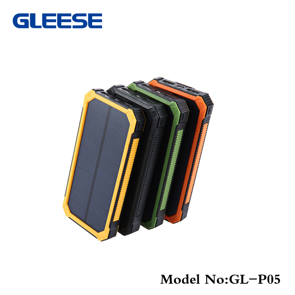 Solar Energy Phone Battery Charger Camping Sports Equipment Portable Power Bank 20000mah
