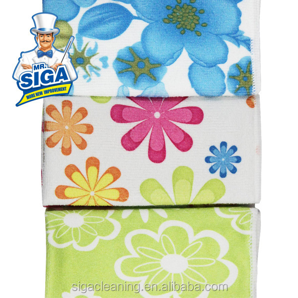 Mr.SIGA Factory Supply Kitchen Recycled Custom Print Microfiber Cleaning Cloth