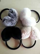 2016 good quality real rex rabbit fur earmuff for winter as gift