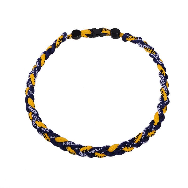 navy blue yellow titanium ionic sport baseball necklace