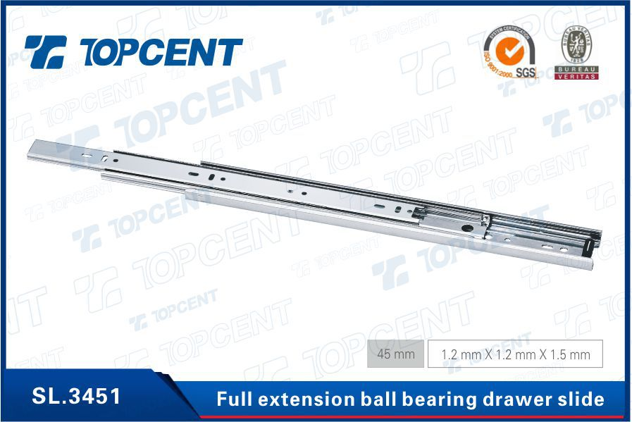 [SL.4325] 3 fold full extension soft closing telescopic channel drawer slides