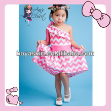 2014 New Style Baby Girls Kids One Shoulder 100cotton Valentine Cotton summer Dress Valentine Girls One Shoulder Ruffle Dress