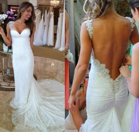 NE002 Sexy Backless 2017 Wedding Dress Sparkling White Sweetheart Sleeveless Mermaid Wedding Dresses Court Train Bridal Gown