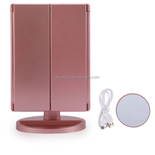 Adjustable 22 LED Touch Screen Light Makeup Mirror Portable Folded Desktop Makeup Vanity Mirror 1X 2X 3X 10X Magnifying Mirrors