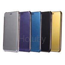 Hot sell Clear View Cover Translucent Touchable Electroplated case for iphone 6, PC Hard Case cover for iPhone 6 Plus/ 6S Plus
