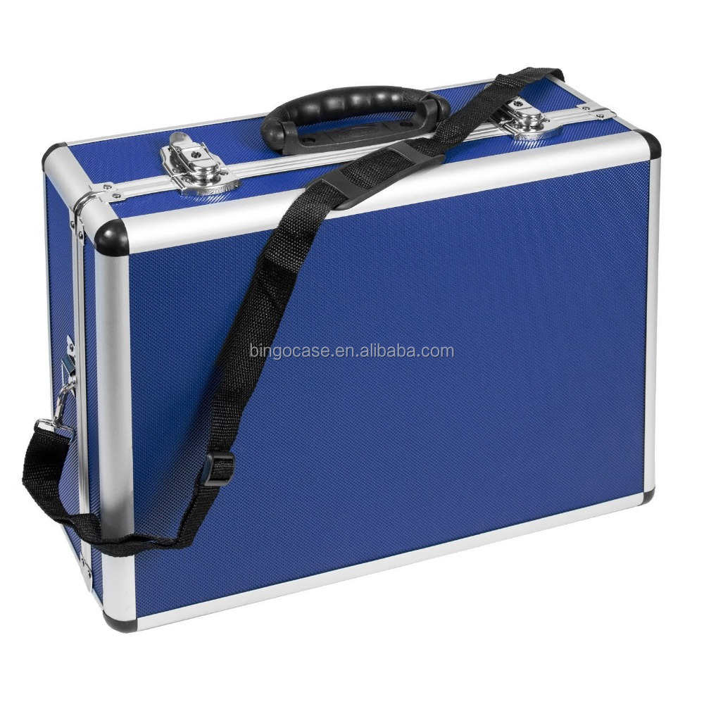 Slimline Compartmentalised Blue Storage Tool Case Carry Case with Handle & Locking Clasps