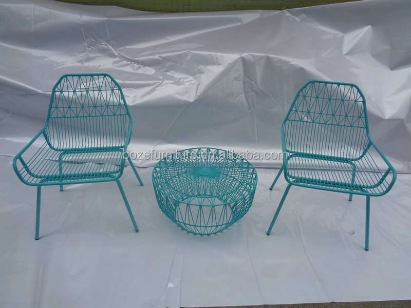 fun color steel furniture, balcony steel chair and table, heavy duty furniture