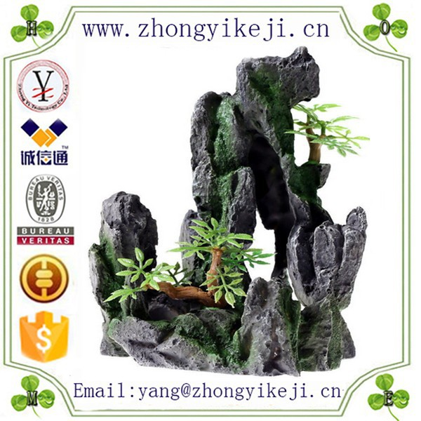 2015 chinese factory custom made handmade carved hot new products Resin decoration rock for fish tank decoration