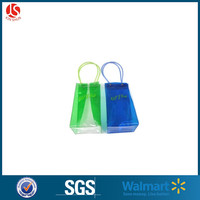 pvc disposable custom logo wine bag / pvc ice bag with custom made Tube Handle