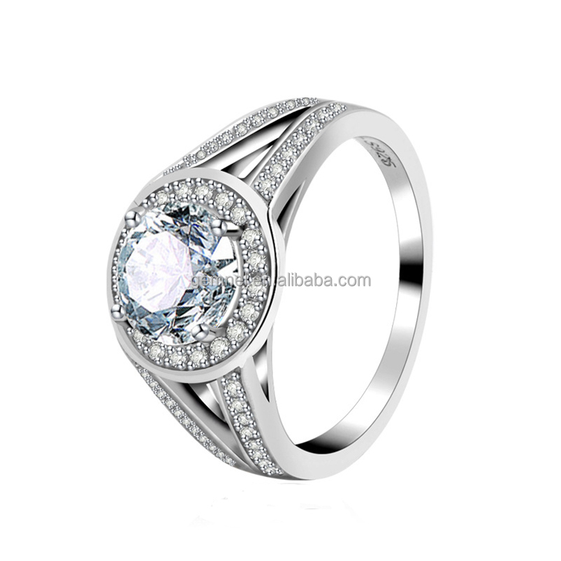 925 Sterling Silver CZ Wedding engagement ring white gold <strong>diamond</strong>