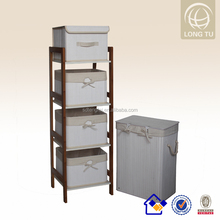 2015 high level KD bamboo racks with bamboo storage baskets