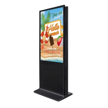 "43"" Dual screen commercial floor stand advertising equipment Android wifi IR touch indoor AD player digital signage"