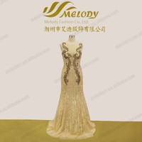 2015 Real sample long tulle beading wedding dress champagne mother of the bride
