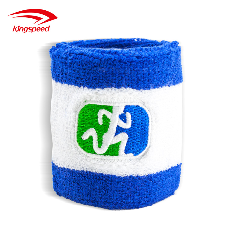 2017 promotional striped cotton tennis sweatbands with embroidery logo