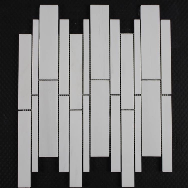 Decorstone24 White Backsplash Marble Random Strip Stone Mosaic Tile For Kitchen Wall
