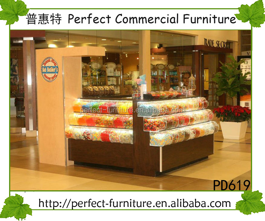 Mall candy kiosk with acrylic boxes display can display over 100 flavors