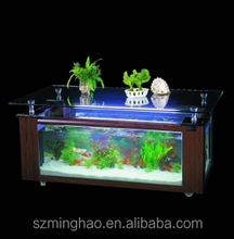 Acrylic fish aquarium coffee table tank with wood for house decoration