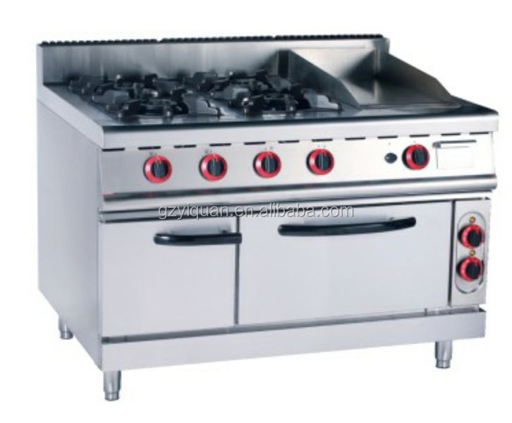 Commercial 4 Burner Gas Stove With Oven Gas Range With 4