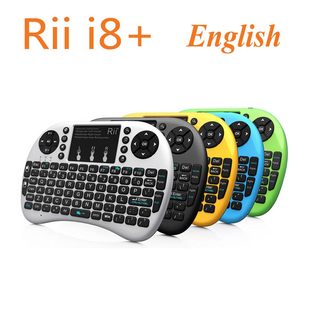 [Genuine] Rii mini i8+ 2.4G Wireless English Backlight Keyboard With TouchPad Mouse Backlit Gaming Keyboard HTPC Tablet Mini PC