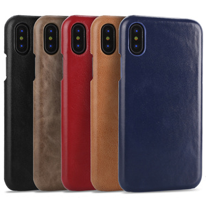 Premium Quality Retro Design Matte Cowhide Genuine Leather Back Phone Case for iPhone X XS XR XS Max