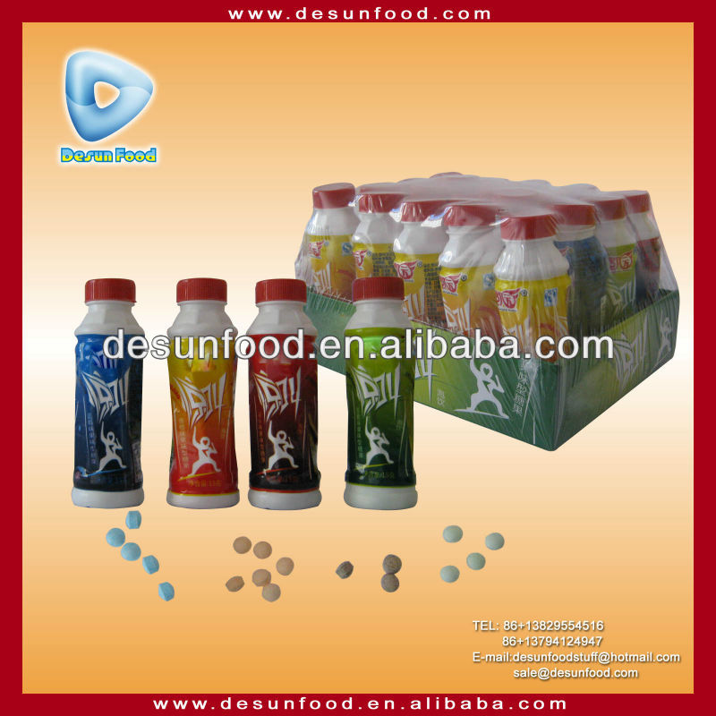 Fruit flavor pressed candy in beverage shape bottle