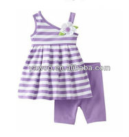 Hot selling chevron outfit baby girls striped vest camisole with solid color short pants boby suit 100%cotton set for children