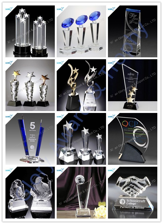 Unique wholesale sport Glass crystal cup trophy Award