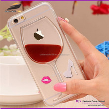 New red wine cup cover TPU case 3D liquid glitter glass for iphone 6 6s 6 plus clear case