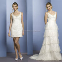 WD1747 beading scoop neck and back sleeveless removable organza tiered bottom detachable skirt two piece wedding dress