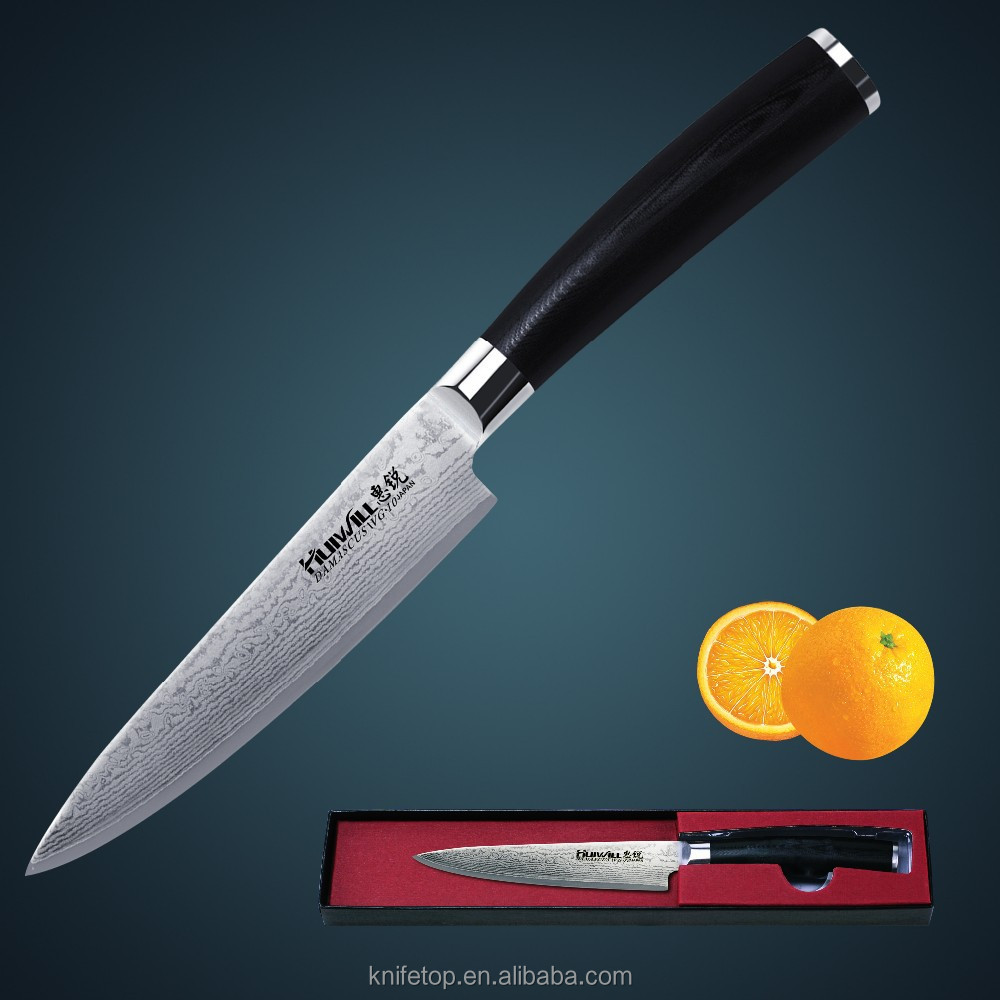 HUIWILL kitchen knife 5''<strong>Utility</strong>/Universal knife Japan VG10 damascus steel with <strong>Forged</strong> Black Micarta handle