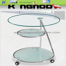 Modern 3 tiers glass coffee table wheels/computer table wheels