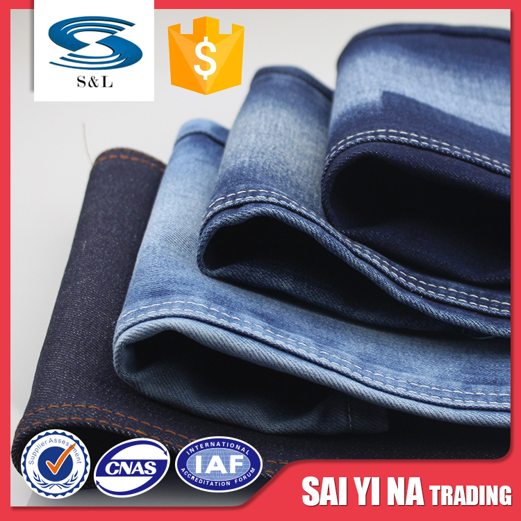 Thick 400gsm 100% cotton women pants jeans piece dyed denim fabric