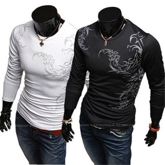 2017 Spring Autumn New Men's Tattoo Printed Long Sleeve T Shirts
