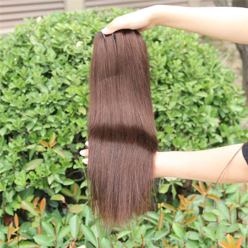"beauty unprocessed 100% indian virgin human hair 20"" seamless dark brown easy clip in hair extensions"