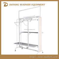 China modern wooden and iron clothes display shelves for clothing store