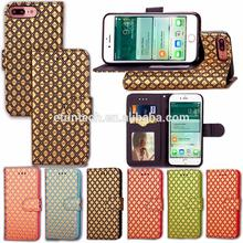 Luxury mobile phone case diamond pattern PU leather wallet flip phone case for iphone 7 plus