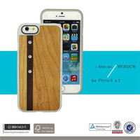 For iPhone 6 Diamond Case Crystal Bling Cover Bamboo Wooden Bumper Case For iPhone 6 Plus