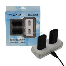 USB Charge Kit 2 x Rechargeable 1400 mAh Battery + Charging Dock Station For XBOX ONE Controller With Light Indicates