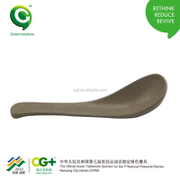 Organic natural rice husk fiber wooden flat bottom spoon