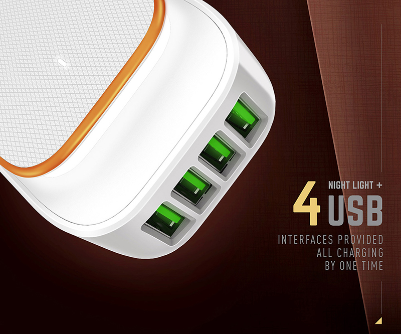 Best quality 4 ports 4.4A usb travel home wall charger with LED Touch