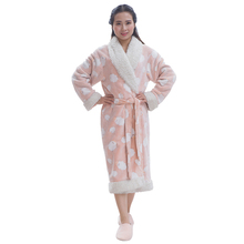 2016 new 100% polyester fleece bathrobe dresses design for women