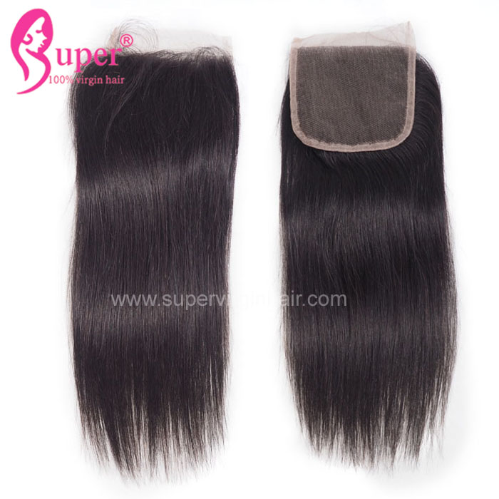 Straight Swiss Lace Closure, 4x4 Free Part Top Brazilian Human Virgin Remy No Shedding Hair Closure