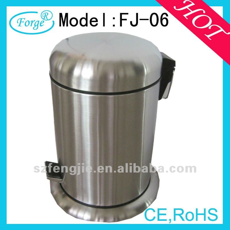 hotel stainless steel round pedal waste recycle bin
