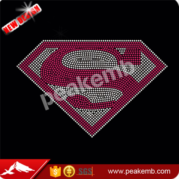 superman iron on Rhinestone transfers design hot fix rhinestone transfer motifs design
