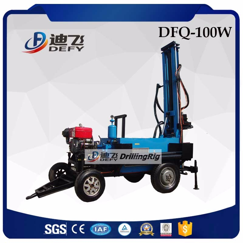 100m trailer mounted used water drilling rigs for sale in India